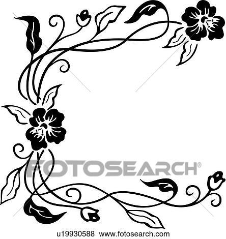 clip art of border corner floral u19930588 search clipart rh fotosearch com floral clip art borders flower clipart