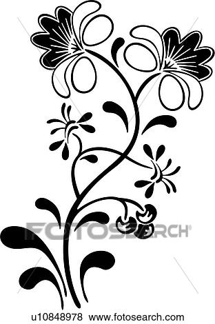 Clip Art of , amish, dutch, flower cherries, folk art, holland ...