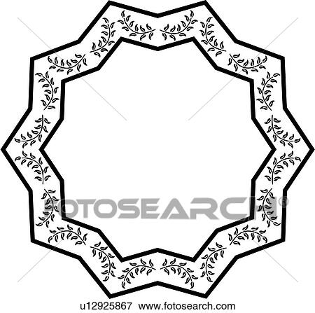 Clip Art of , blank, border, fancy, folk art, frame ...