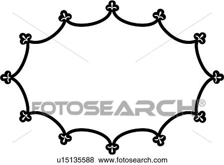 Clip Art of , blank, border, fancy, frame, oval, sign ...