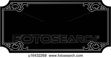 Clip Art of , blank, border, fancy, frame, rectangle, sign ...