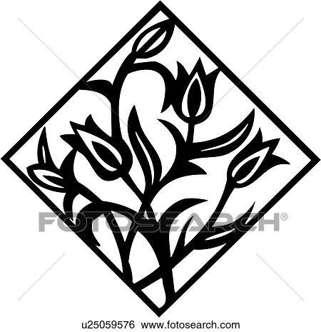 clip art of diamond floral tile u25059576 search