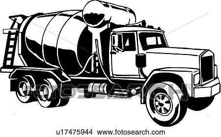 Clipart Of Heavy Equipment Construction Trade Transit Mix