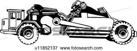 Clip Art Of Heavy Equipment Construction Earth Scraper
