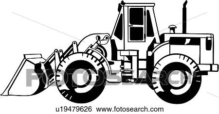 Clip Art Of Front End Loader Construction Heavy