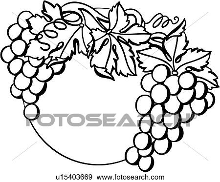 clip art of autumn border fall fancy food frame fruit grape rh fotosearch com Autumn Flowers Clip Art Autumn Tree Clip Art