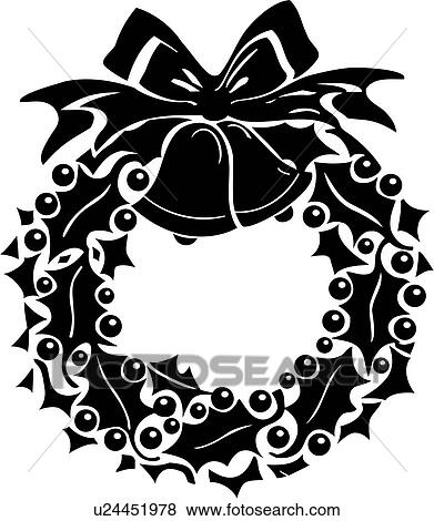 Clip Art Of Bell Bow Christmas Holiday Holly Wreath Xmas