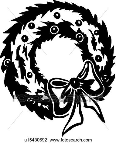 Clipart Of Christmas Holiday Wreath Xmas U15480692