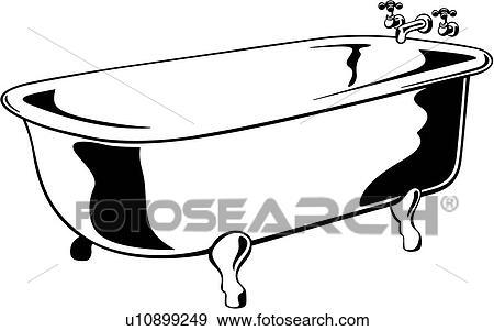 clip art of bathroom bathtub claw foot fixture tub bath room rh fotosearch com bathtub black and white clipart hot tub clipart