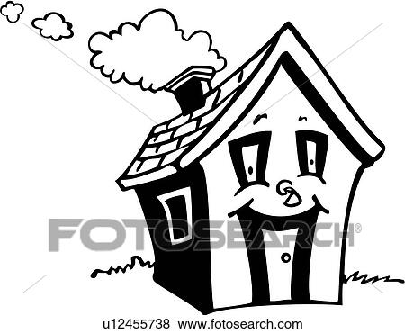 Clip Art Of Chimney Cottage Door Happy House Roof Wacky