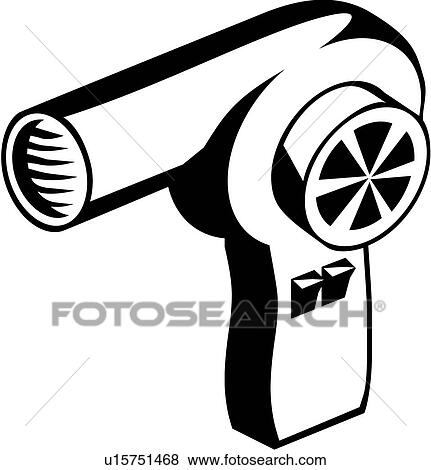 clip art of hair dryer appliance u15751468 search clipart rh fotosearch com Blow Dryer Clip Art hair dryer clipart black and white