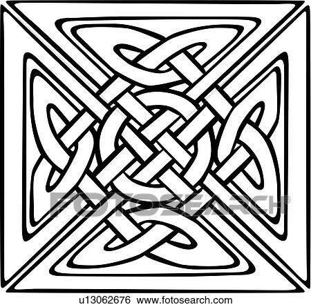 Clip Art -   abstract  celtic  knot  ornaments  square    Fotosearch    Simple Celtic Knot Square