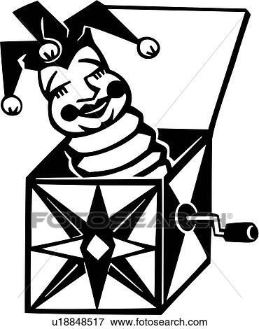 clip art of baby baby toy box jack toy u18848517 search rh fotosearch com Red and White Toy Box Clip Art toy box clipart black and white