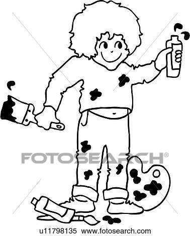 clipart brush child children happy kid paint painter - Picture For Kid Painting