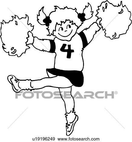 clip art of , cheerleader, child, children, costume, dress up