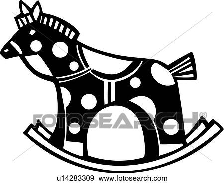 Clip Art of , baby toy, rocking horse, toy, u14283309 - Search ...