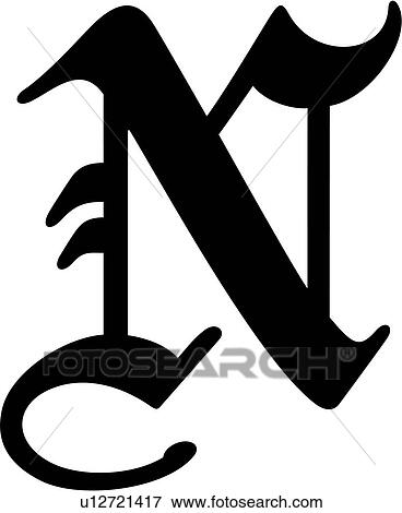 Clip art of alphabet old english capital letter - N letter images ...