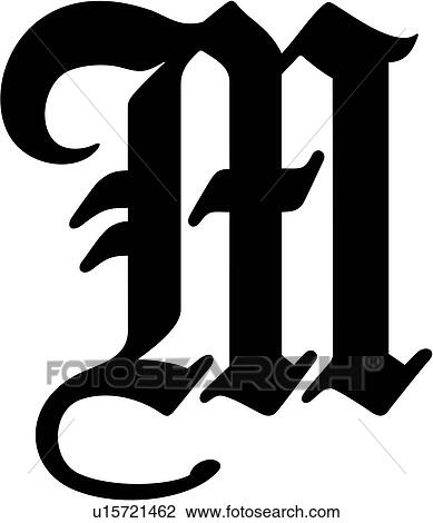 Alphabet Old English Capital Clipart Calligraphy Big Letter