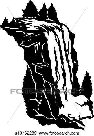 clipart of country illustrated panels land waterfall u10762283 rh fotosearch com waterfall clipart png waterfall clip art black and white