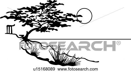 Clip Art of , california, country, cypress tree, illustrated ...