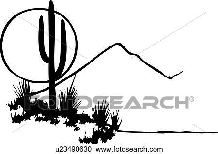 Clipart of , cactus, desert, illustrated panels, moon, mountain ...