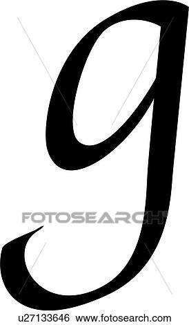 Clip Art Of Alphabet Calligraphy G Letter Lowercase