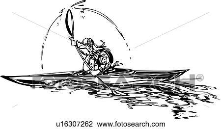 Clipart Of Kayaking Sport Cartoons U16307262