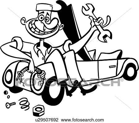 clipart of auto car mechanic trade work cartoon u29507692 rh fotosearch com automotive mechanic clipart Auto Mechanic Logo Design