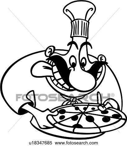 Clipart - küchenchef, koch, kochende, italienischer, kueche, pizza ...   {Koch bei der arbeit clipart 77}