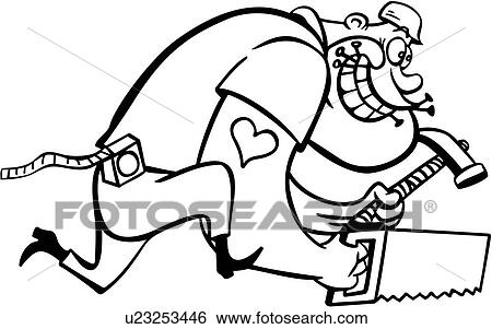Clip Art of , cartoon, hammer, saw, tools, man, construction ...