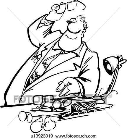 Clipart Of , Architect, Drafter, Drafting, People, Profession