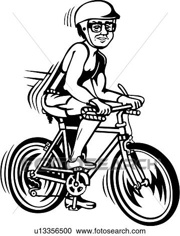 Clip Art of , race, action, bicycle, bicycling, bicyclist, cartoon ...