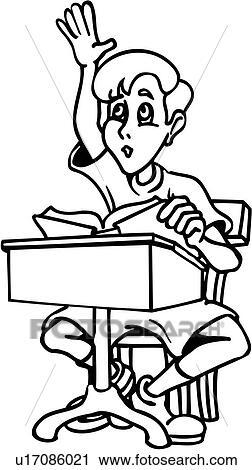 Clipart of boy child desk kid people school student