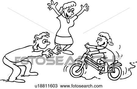 Clipart - vélo, aller bicyclette, vélo, dessins animés ...