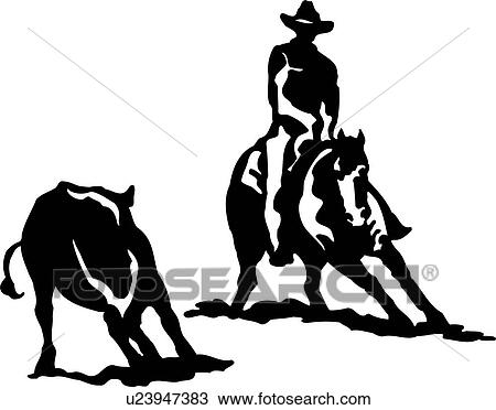 Clipart of , animal, cowboy, cutting horse, horse, rodeo, sport ...