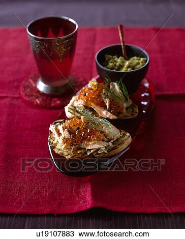 Stock photo of canapes with smoked trout and roe u19107883 for Smoked trout canape