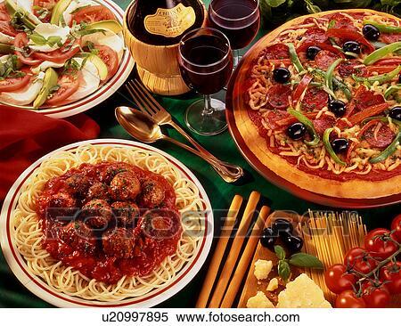 Italienischer pizza spaghetti salat großes bild anschauen