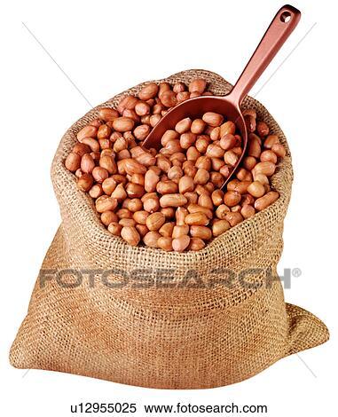 Stock Image - Sack Of Peanuts  Sack Of Peanuts
