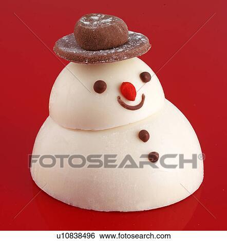 Banque d 39 images massepain bonhomme de neige chocolat chapeau u10838496 recherchez des - Chapeau bonhomme de neige ...