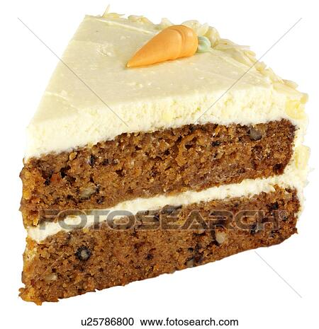 Stock Photography of Slice Of Carrot Cake On White ...