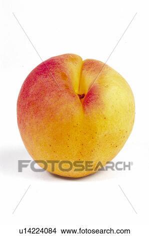 banque de photo fruit p che abricot rond orange couleur une peler u14224084. Black Bedroom Furniture Sets. Home Design Ideas