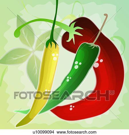 Dessins gros plan de trois poivres piment u10099094 - Dessin piment ...