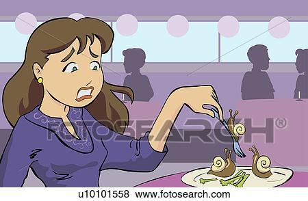 banque d 39 illustrations gros plan de a jeune femme manger escargot u10101558 recherche. Black Bedroom Furniture Sets. Home Design Ideas