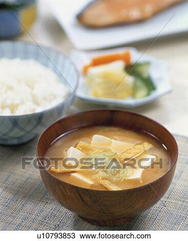 Stock Photo - Miso Soup With Tofu And Bean Curd. Fotosearch - Search ...