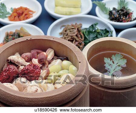 Banque d 39 images arrangement tableau nourriture cor en for Tableau temps de sterilisation plats cuisines