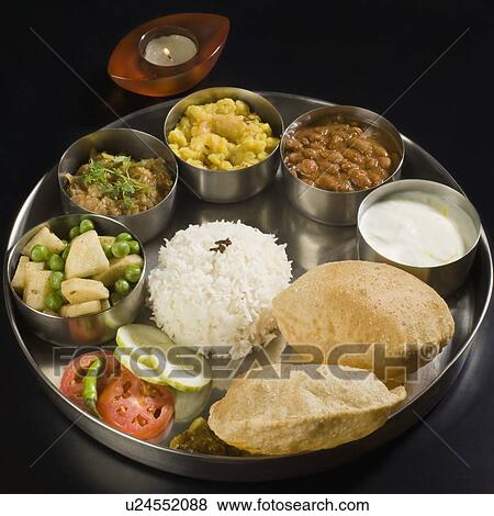 Pictures of High angle view of assorted Indian food ...