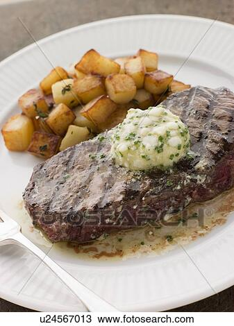 Entrecote de Beouf' with Roquefort Butter and Parmentier Potatoes View ...