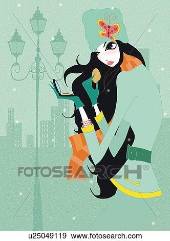 イラスト - 若い女性, 適用, 赤面, 路上で. Fotosearch... 若い女性, 適用