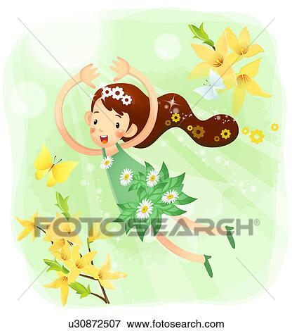 Stock illustration nahaufnahme von m dchen fliegen for Fliegen in blumen