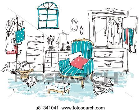 Clipart Of Dressing Room Interior U81341041